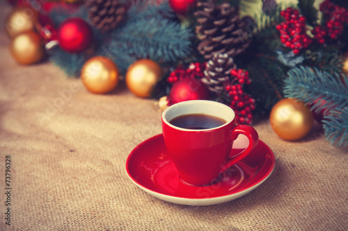 canvas print picture Cup of coffee and christmas gifts.
