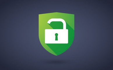 Long shadow shield icon with a lock pad