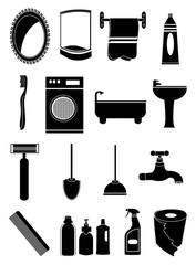 Bathroom washroom icons set