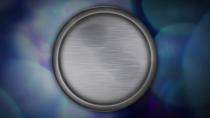 Animated blank metal circle on background