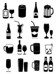 Alcohol drinks wine beer icons set