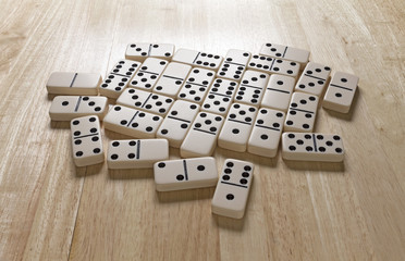 Dominoes Layer On Table