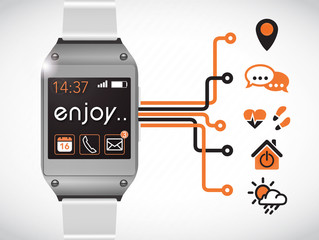 montre connectée : applis (orange)