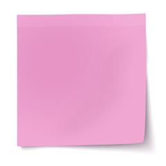 Pink, rosy sticky note with turned up corner isolated