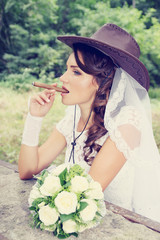 bride with a cigar, tinted