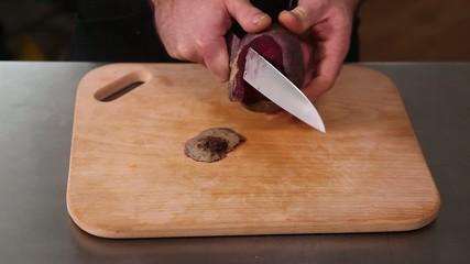 The restaurant of Ukrainian cuisine chef peel the beet