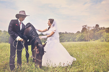 newlyweds and horse. tinted