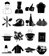 Chef restaurant icons set