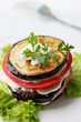 Appetizer of eggplant and tomato