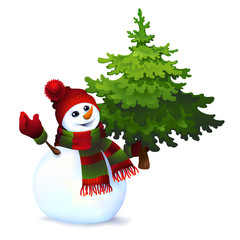 snowman with pine tree