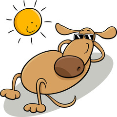 dog taking sunbath cartoon illustration