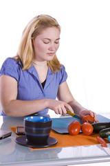 Beautiful Girl Preparing Food
