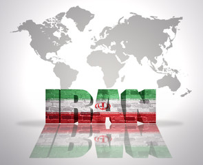 Word Iran on a world map background