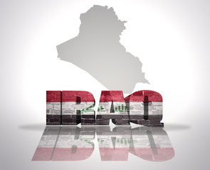 Word Iraq on a map background
