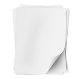 Stack of empty white sheets of paper with one deflected corner
