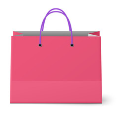 Classic shopping pink bag with violet grips