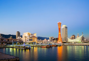 Skyline of Kobe port, The capital of Japan.