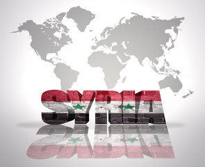 Word Syria on a world map background