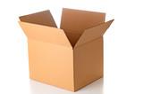 Open cardboard box closeup