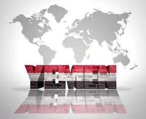 Word Yemen on a world map background