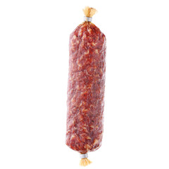smoked sausage, isolated on white