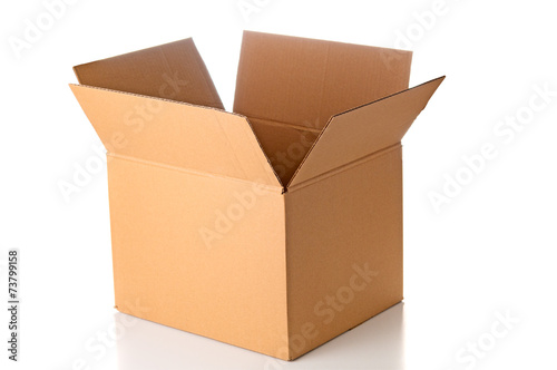 Open cardboard box closeup