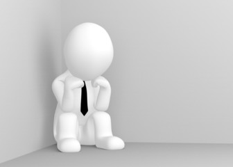 Thinking 3d man sitting in corner of room