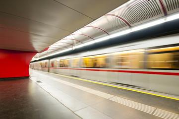 Moving subway train