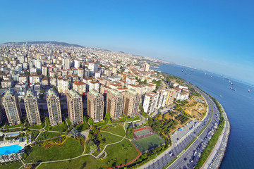Flats has sea view. Aerial Istanbul