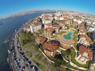Birds eye view of luxury houses and a swimming pool