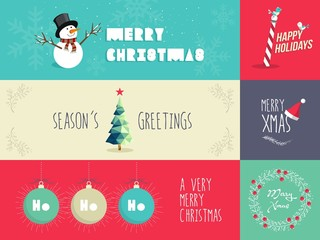 Christmas flat design illustrations set