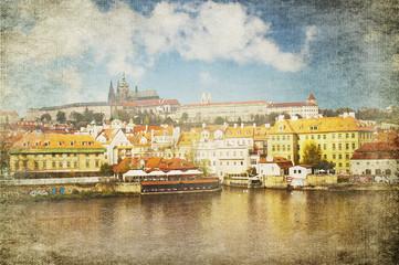 Vintage card of Prague landscape and the Vltava river