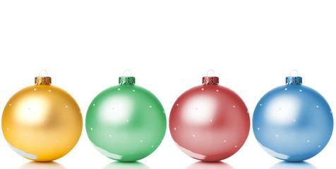 Multicolor Christmas spheres closeup