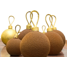 CHOCOLATE CHRISTMAS BAUBLES VOER WHOTE BACKGROUND
