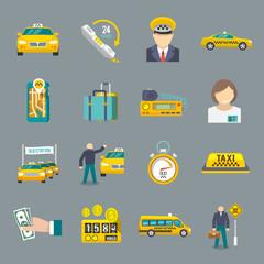 Taxi icons flat set