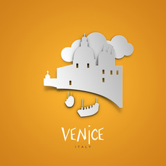 Venice, Italy. Yellow greeting card.