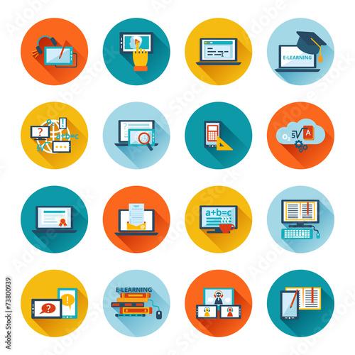 E-learning icon flat - 73800939