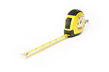 Work Tools: measure tape on white background