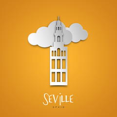 Seville, Spain. Yellow greeting card.