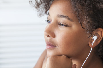 African American Girl Listening to MP3 Music Headphones