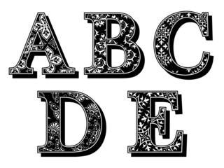 Alphabet antiqua letters with an elegant pattern