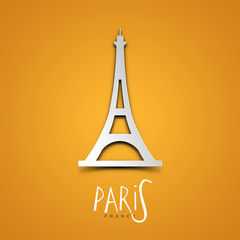 Paris, France. Yellow greeting card.