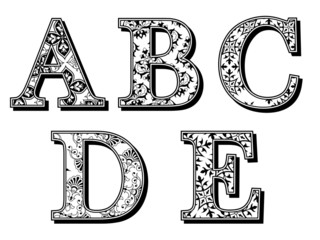 ABCDE alphabet letters in antiqua with patterns