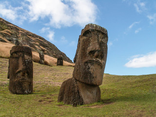 Two Moai At Front