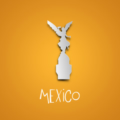 Landmarks illustrations. Mexico. Yellow greeting card.