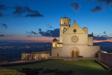 The Papal Basilica of St. Francis of Assisi at sunset