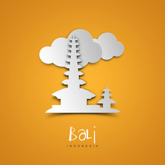 Landmarks illustrations. Bali, Indonesia. Yellow greeting card.