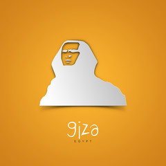 Landmarks illustrations. Giza, Egypt. Yellow greeting card.