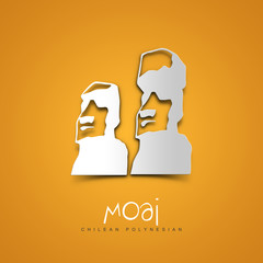 Moai, Chilean Polynesian. Yellow greeting card.