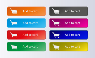 Set of commerce colorful buttons. Add to cart